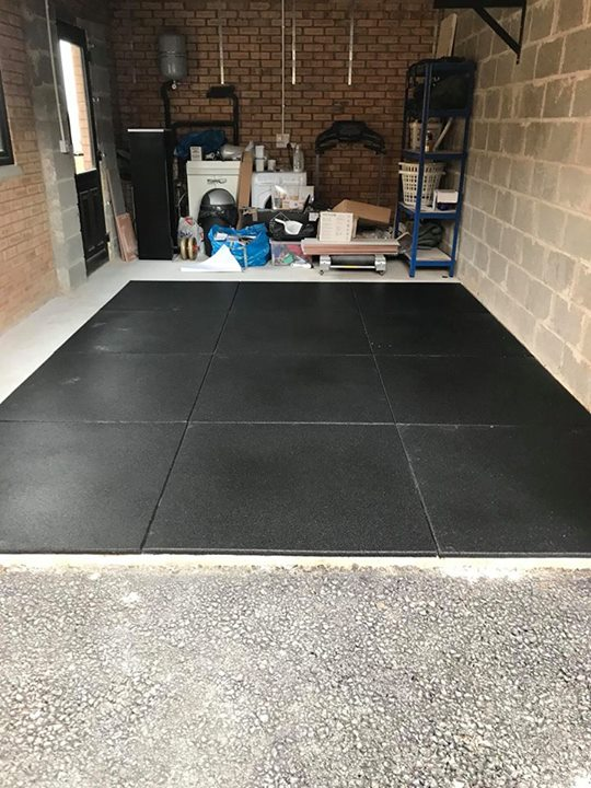20mm Granuflex Rubber flooring installed in customers garage.