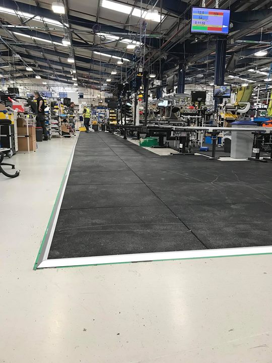 Today we fitted 69 m2 of Granuflex 20mm rubber flooring with aluminium ramp edging for a production line in Rockwell Col…