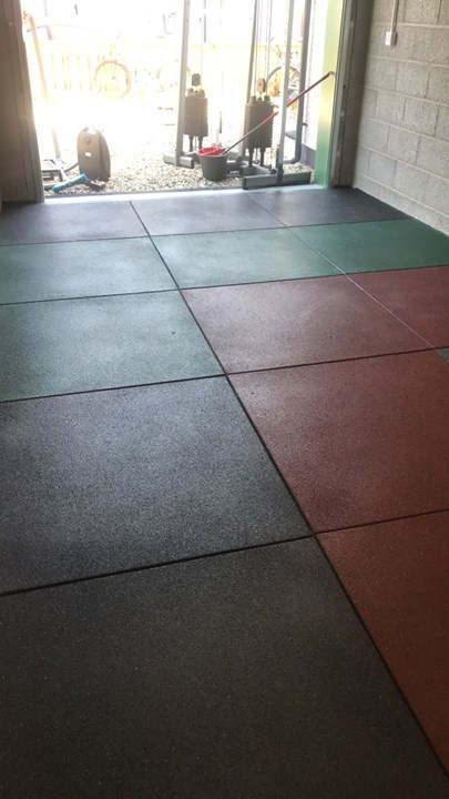 Here we have a recent install of 31 square metres of  #Granuflex 20mm Tiles in black, grey, green & red – arranged in a …